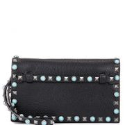 Embellished Leather Clutch Bag