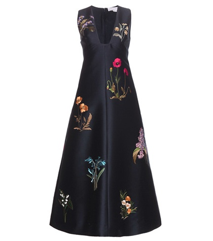 Embroidered cotton and silk-blend dress