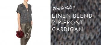 How to style a linen blend zip-front cardigan - styling businesswoman