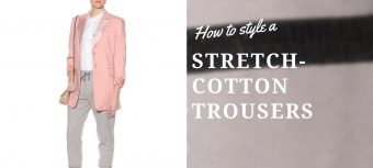 How can a businesswoman style stretch-cotton trousers?